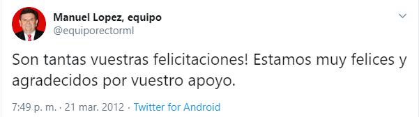 la estrategia en redes sociales del rector D. Manuel López