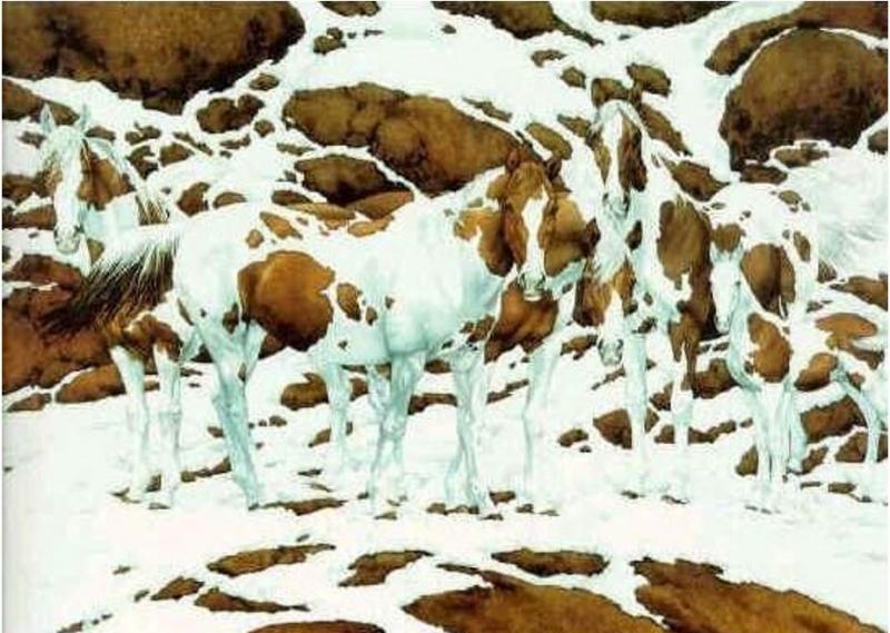 Ley del fondo y la forma de la Gestalt. ¿Cuántos caballos hay en esta imagen?